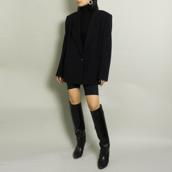 Vintage Oversized HALSTON Blazer   Black   S/M/L - image 3