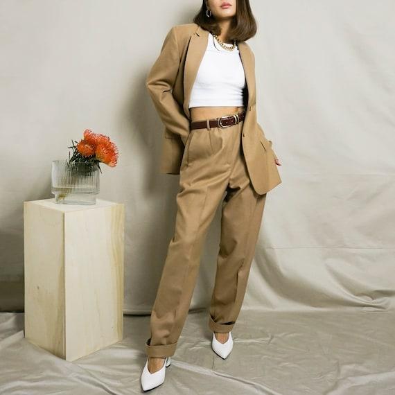 1990's Wool Pant Suit | Camel | S/M