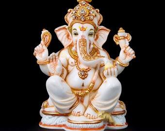 Hindu Elephant God,Vinayak,Ganapati God of good luck.set of 2 Ganesh statue cultured marble Lord Ganesha idol on leaf Ganesha statue