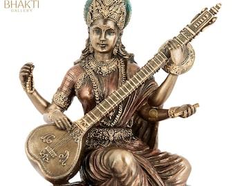 Saraswati Statue, Sarasvati Idol, 15 CM Bonded Bronze Goddess Saraswati Statue, Indian Arts. Hindu goddess of Arts,Music,Knowledge & Wisdom.
