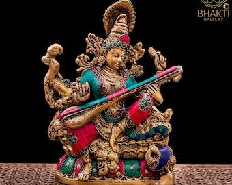 Brass Saraswati Statue Idol with Stone Work 27 cm big, Gift for Music teacher. Hindu Mother Goddess of Arts, Music, Knowledge & Wisdom.