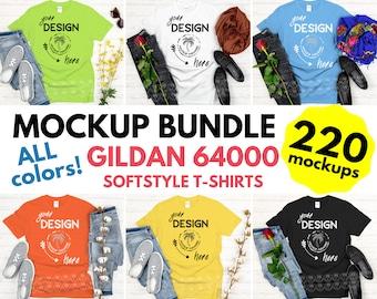 Gildan Softstyle Tshirt Mockup Bundle - Gildan 64000 Mock Up Bundle - Gildan 64000 All Colors On White Wood Background