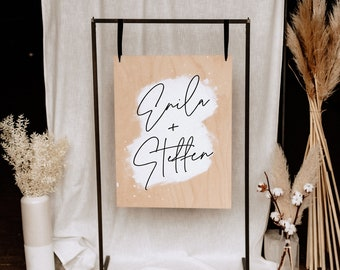 Welcome sign for your wedding   Wood   Individual production   Hand-described   Personalized