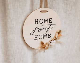 Door sign with dried flowers   Hand-described   Wooden sign   Family sign   Welcome sign   Gift