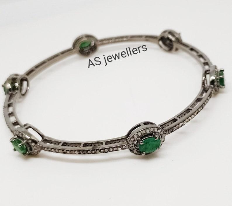 Anniversary Gift Emerald Diamond Bracelet Sterling Silver Jewelry Wedding Gifts Pave Diamond Jewelry Pave Diamond and Emerald Bangle