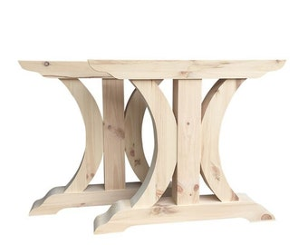 """Crescent Trestle Table Legs, Free Shipping, Set of Two, Dining Farmhouse Table Legs - 32.5"""" x 28.5"""" x 4.5"""""""