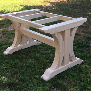 Crescent Trestle Table Legs Free Shipping Set Of Two Dining Etsy