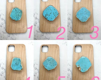 Turquoise Phone Grip with gold edging
