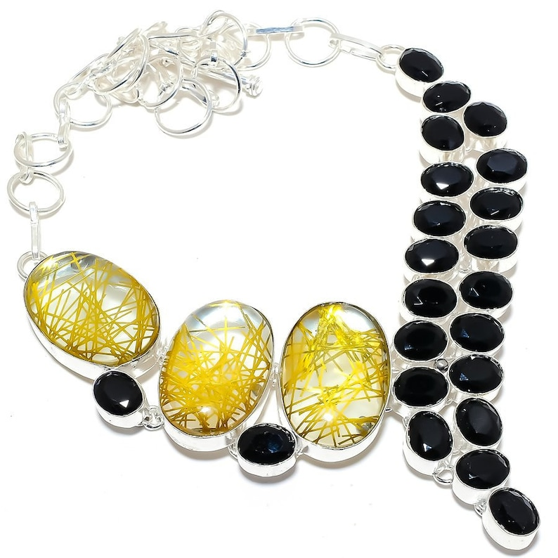 Silver Necklace For Women Birthday Gifts Golden Rutile Quartz Black Onyx 925 Sterling Silver Jewelry Necklace 18 Best Love Gift