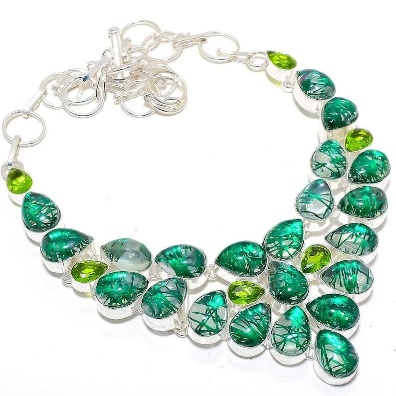 Handmade Jewelry Best Love Gift Birthday Gifts Green Rutile Quartz Gemstone 925 Sterling Silver Jewelry Necklace 18 Free Jewelry