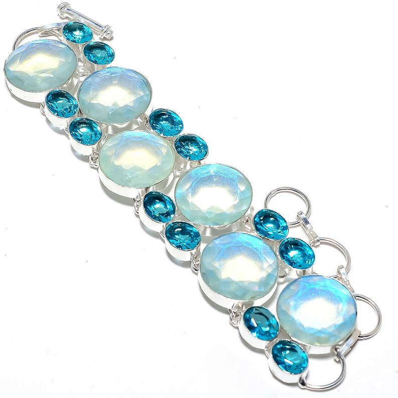 Aqua Mystic Topaz Blue Topaz Gemstone 925 Sterling Silver Jewelry Bracelet