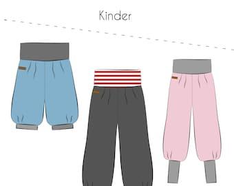 Sewing pattern pump pants kids