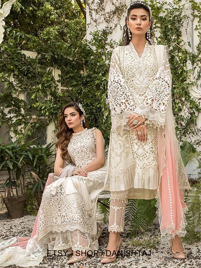 Pakistani dress chikankari luxury dress with all over and embroidery Indian Desi bridal and wedding outfit partywear.