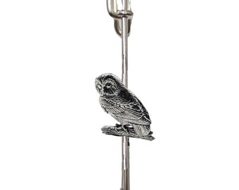 Barn Owl on a 3 7.5cm Kilt Pin Scarf  Brooch with English Pewter Emblem or Stunning stick pin with end connector refb19 bird