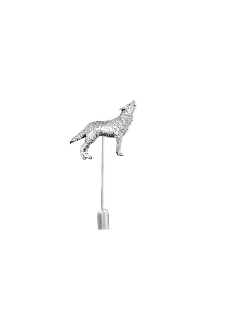 Wolf  on a 3 7.5cm Kilt Pin Scarf  Brooch with English Pewter Emblem or Stunning stick pin with  connector codeppa26