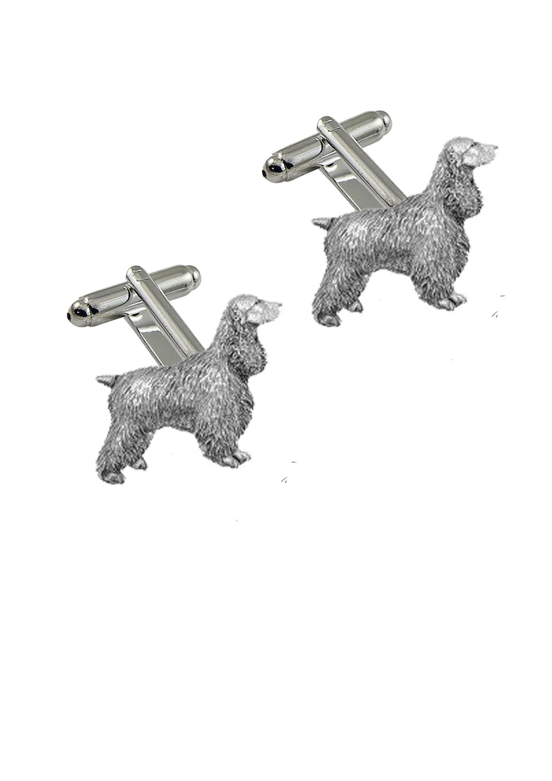 Cocker Spaniel dog made from fine English pewter cuff link or tie slide or the set or stick pin code ppd12 dog