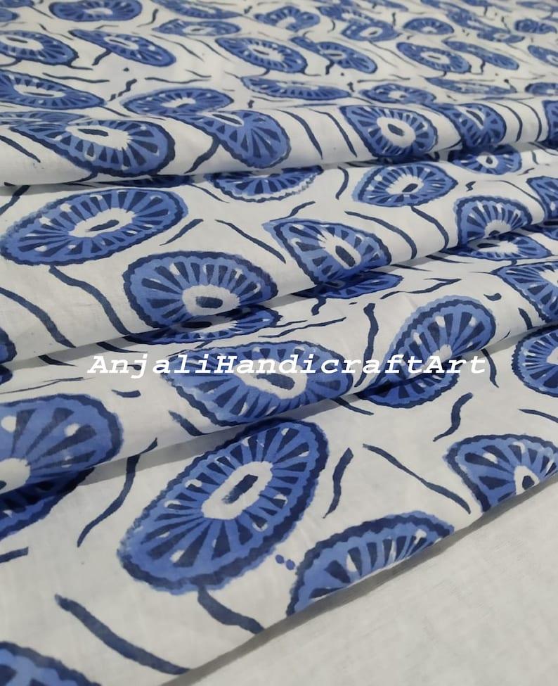5 Yard, Blue Neural Hand Block floral Printed Fabric soft fabric chair Floral Print Hand Block Fabric Beautiful Fabric Indian Pure