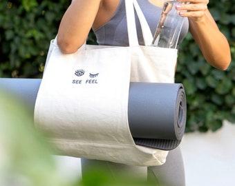 Yoga Pilates Mat Bag Basic Canvas Tote with Mat Carrier Pocket