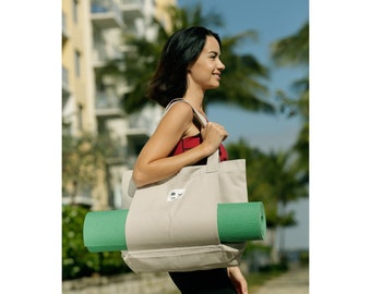 Yoga Pilates Mat Bag Basic Canvas Tote with Mat Carrier Pocket Gray