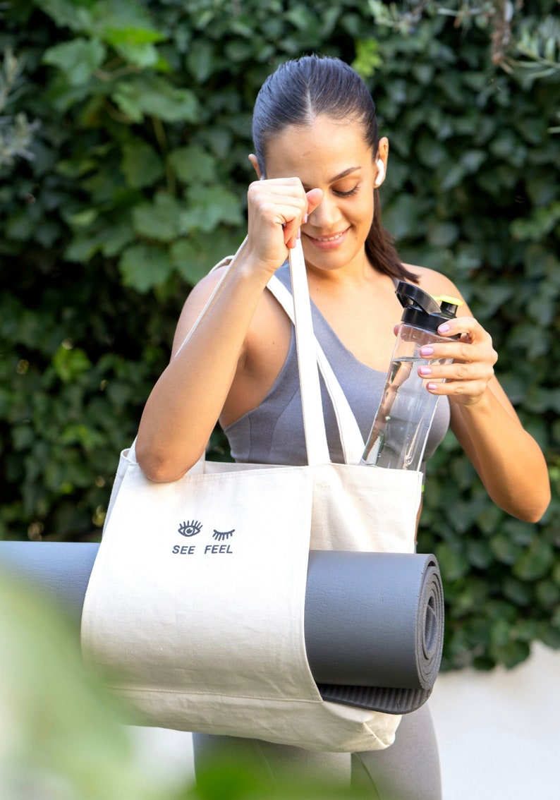 Yoga Pilates Mat Bag Basic Canvas Tote with Mat Carrier Pocket image 0