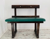 20th Century Small Oak Railway Waiting Room Bench With Green Padding Hallway Bench Seater