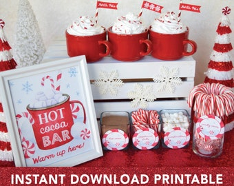 Hot Chocolate Bar Kit PRINTABLE, Hot Cocoa Bar, Christmas Hot Cocoa Bar Sign, DIY Hot Chocolate Bar Tags Labels, Instant Digital Download