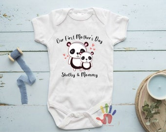cute /& funny Happy First Mothers Day Mommy Baby one Piece Bodysuit Gift