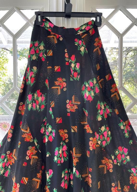 70s Floor Length Maxi Skirt/Bohemian Floral Skirt/