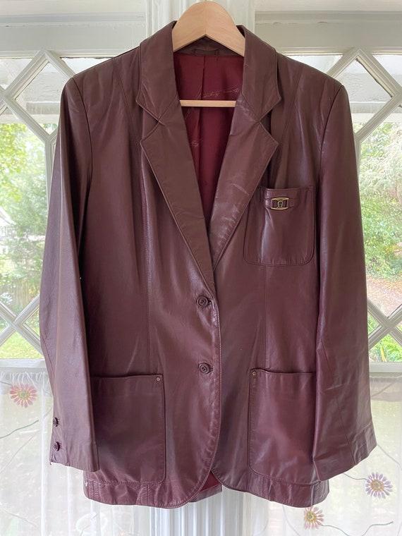 Etienne Aigner Leather Blazer/70s-80s Oxblood Etie