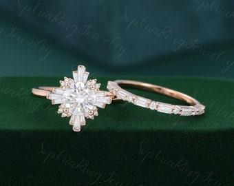 Unique Rose gold engagement ring set Vintage moissanite Halo engagement ring Half eternity  baguette diamond wedding Bridal Anniversary Gift