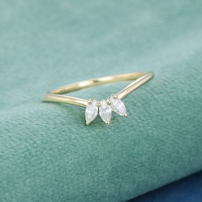 Curve wedding band Yellow gold wedding band women unique marquise cut diamond stacking matching ring Unique half eternity Bridal Gift