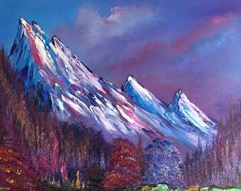 Trinity Valley - Bob Ross Inspired Original Landscape Oil Painting on Canvas