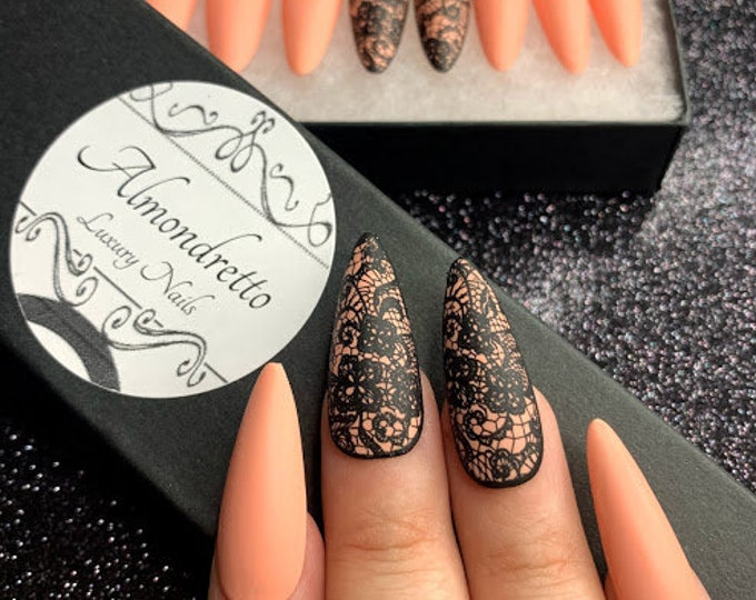 Featured listing image: Nude + Black Lace, Matt finish, Press-On Nails, Matching Gift Set, Luxury Nail, Custom Personalized DIY