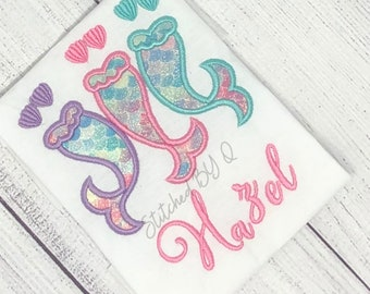 Beach Ocean SAMPLE SALE- New Mermaid in Town Salty Air Embroidered Bodysuit Summer Mermaid Tail Mermaid Embroidered Shirt
