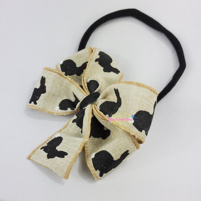 Burlap Bunny Easter Baby Hairbow Headband Black White Nylon Band Bow For Infants Babies Toddlers Bunny Pinwheel