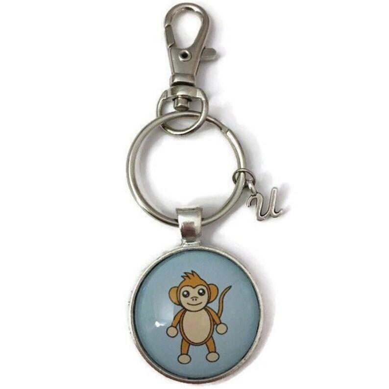 Easter Basket Stuffer Initial Keychain For Girls Monkey Keychain Personalised Keyring Monkey Gifts Girlfriend Birthday Gift For Kids