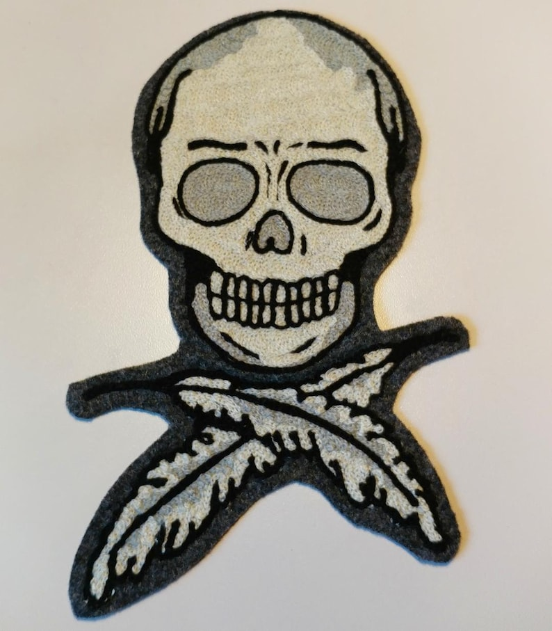 Skull and Crossed Feathers chainstitch embroidery patch