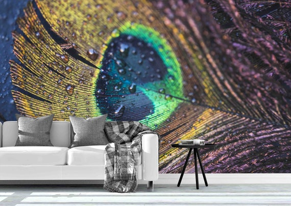 3d Green Peacock Feathers Enlarged Pattern Wallpaper Mural Etsy