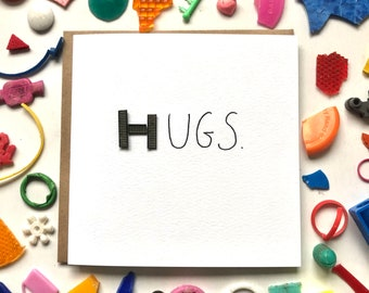 Hugs card! Lockdown card, special card, miss you card, friends card, couples couple, covid card, beach cleaned plastic, eco card, quirky