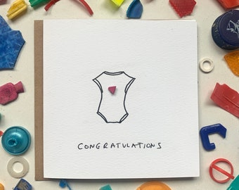 New baby card! Fun new baby card, Baby boy, Baby girl, Newborn, New arrival, Card for First Time Mum, Sustainable, Eco friendly, Upcycled