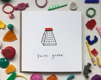 You're grate! You're great card, fathers day card, cute dad card, well done card, eco friendly card, sustainable card, beach cleaned plastic