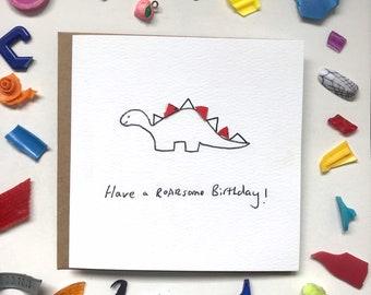 Have a roarsome birthday! birthday card, beach cleaned plastic, fun card, dinosaur card, sustainable birthday card, eco friendly card