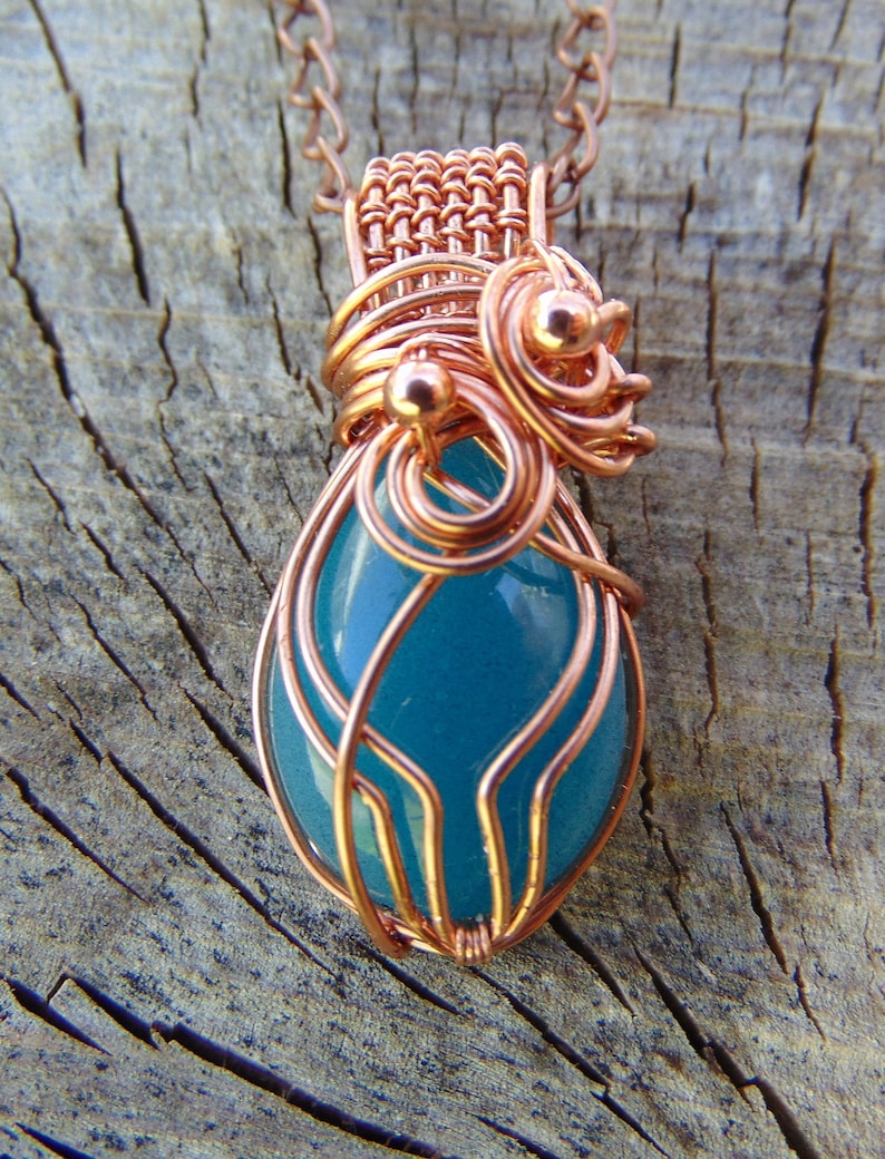 Copper Wire Boho Necklace100/% Copper Wire Wrapped Resin Cabochon PendantResin Jewelry