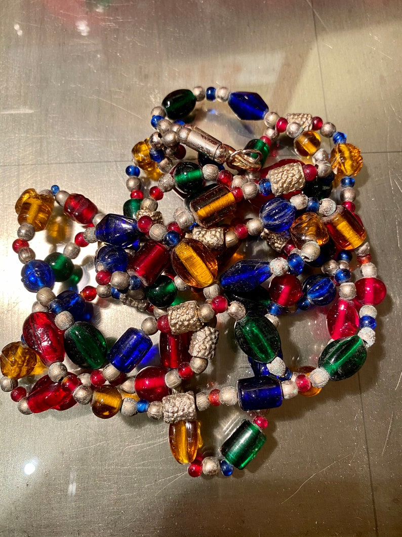 Colorful vintage glass bead necklace double-strand necklace glass beads great rainbow colors Estate Woodstock Hippy jewelry