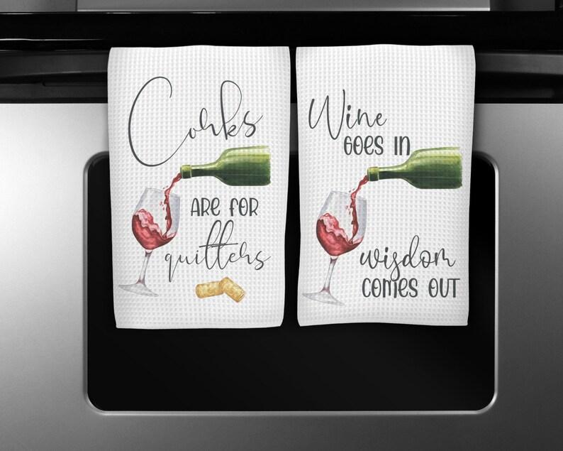 Personalized Kitchen Hostess Gift Wine Kitchen Towels Wine Kitchen Decor Custom Waffle Weave Towel Funny Wine Lovers Tea Towels