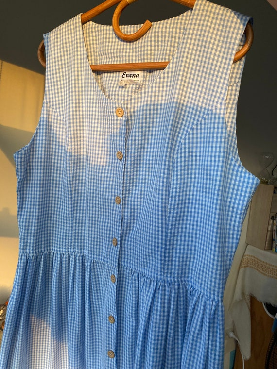 Vintage 90s midi gingham dress // large