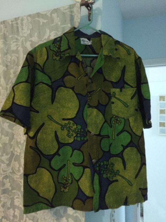Vintage 1960s Barkcloth Men's Hawaiian Shirt