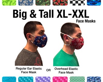 Extra Large Cotton Face Masks For Adults, 2 Layer, 3 Layer, Cotton, Washable, Reusable, Ear Elastic, Overhead Face Masks, USA