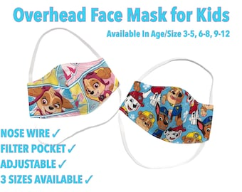 Over The Head Face Mask for Kids , Child Nose Wire Face Mask, Filter Pocket Face Mask for Hearing Aids, Cotton, Reusable, Washable
