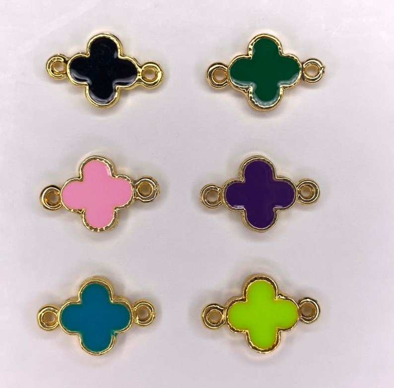 24k gold plated bracelet with clover charm